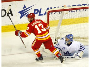 Calgary Flames winger Johnny Gaudreau scores on Toronto Maple Leafs goalie Frederik Andersen in second-period action at the Scotiabank Saddledome in Calgary on Tuesday, January 26, 2021. Darren Makowichuk/Postmedia