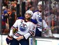 Edmonton Oilers stars Leon Draisaitl (left) and Connor McDavid combined for five points in an overtime loss to the Maple Leafs on Saturday night.