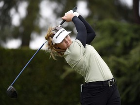 Brooke Henderson of Canada hits off the second tee during the final round of the HUGEL-AIR PREMIA LA Open at Wilshire Country Club on April 24, 2021 in Los Angeles, California.