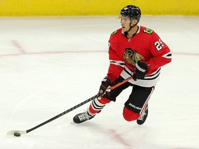 'My goal is to make Vancouver my home for a long time,' says Madison Bowey, shown in action earlier this season with the Chicago Blackhawks. 'I can't say it's my last (career) shot, but I'm treating it like that.'