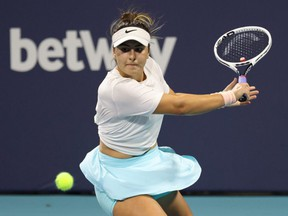 Bianca Andreescu hits a backhand against Maria Sakkari in the women's singles semifinal in the Miami Open at Hard Rock Stadium, April 2, 2021.