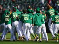 Athletics players celebrate after a walk off victory in the 10th inning against the Twins at RingCentral Coliseum in Oakland, Calif., April 21, 2021.