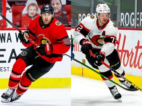 Colin White, left, and Thomas Chabot of the Ottawa Senators.