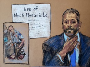 In this courtroom sketch, Minneapolis Police Lt. Johnny Mercil answers questions on the seventh day of the trial of former Minneapolis police officer Derek Chauvin for second-degree murder, third-degree murder and second-degree manslaughter in the death of George Floyd in Minneapolis, Tuesday, April 6, 2021.