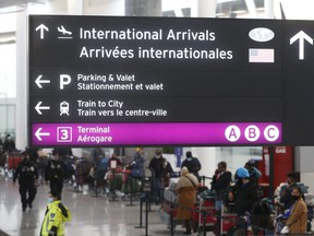 The flight arrival lineup at Toronto's Pearson International Airport located in Terminal One on Feb. 22, 2021.