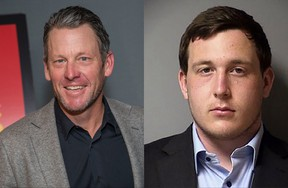 The son of Lance Armstrong, left, Luke Armstrong, has been charged with sexual assault in Texas.