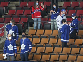 Healthcare providers are in attendance tonight for Game Seven between the Montreal Canadiens and the Toronto Maple Leafs during Game Seven of the First Round of the 2021 Stanley Cup Playoffs at Scotiabank Arena on May 31, 2021 in Toronto, Ontario, Canada.