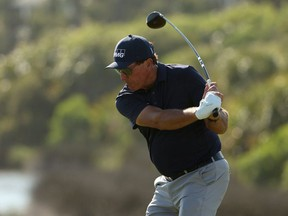 KIAWAH ISLAND, SOUTH CAROLINA - MAY 23: Phil Mickelson of the United States plays his shot from the 12th tee during the final round of the 2021 PGA Championship held at the Ocean Course of Kiawah Island Golf Resort on May 23, 2021 in Kiawah Island, South Carolina.