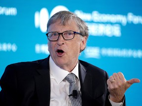 PARTY! PARTY! Bill Gates attends a conversation at the 2019 New Economy Forum in Beijing, China November 21, 2019.