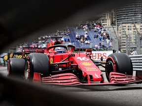 Ferrari's Monegasque driver Charles Leclerc drives during the qualifying session at the Monaco street circuit in Monaco, on May 22, 2021, ahead of the Monaco Formula 1 Grand Prix.