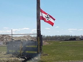 The Friends of Simon Wiesenthal Center for Holocaust Studies says it was alerted Sunday to a Nazi and a Confederate flag on a property near Breton, Alta.