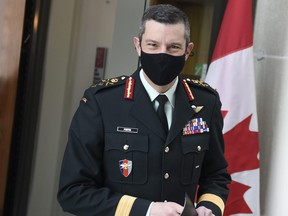 Maj.-Gen. Dany Fortin, vice-president of logistics and operations at the Public Health Agency of Canada, arrives for a news conference on the COVID-19 pandemic in Ottawa, on Friday, Jan. 15, 2021.