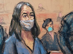 British socialite Ghislaine Maxwell appears during her arraignment hearing on a new indictment at Manhattan Federal Court in New York City, April 23, 2021, in this courtroom sketch.