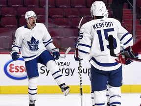 Toronto Maple Leafs forward Jason Spezza (19) reacts after scoring a goal against the Montreal Canadiens during the third period in game six May 29, 2021 at the Bell Centre.