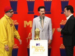 Sacha Baron Cohen receives the Comedic Genius Award during the 2021 MTV Movie & TV Awards in Los Angeles, Calif., May 16, 2021.