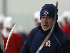Assistant coach Charlie Huddy is pictured during Winnipeg Jets practice at Bell MTS Iceplex on Dec. 9, 2019.
