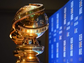 In this file photo taken on December 9, 2019 Golden Globe trophies are set by the stage ahead of the 77th Annual Golden Globe Awards nominations announcement at the Beverly Hilton hotel in Beverly Hills.