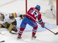 The Canadiens' Josh Anderson has an empty net to score winning goal in overtime against Vegas Golden Knights goalie Marc-André Fleury after a perfect pass from Paul Byron in Game 3 of Stanley Cup semifinal series Friday night at the Bell Centre.