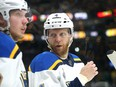 Carl Gunnarsson of the St. Louis Blues looks on against the Boston Bruins during the second period in Game Two of the 2019 NHL Stanley Cup Final at TD Garden on May 29, 2019 in Boston, Massachusetts.