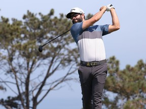 Canada's Adam Hadwin plays a shot from the second tee during the first round of the 2021 U.S. Open at Torrey Pines in San Diego yesterday. Hadwin finished the first round at one under.