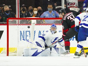 Tampa Bay Lightning goaltender Andrei Vasilevskiy stops Carolina Hurricanes right wing Andrei Svechnikov second period shot in Game 5 of the second round of the 2021 Stanley Cup Playoffs at PNC Arena in Raleigh, N.C., June 8, 2021.