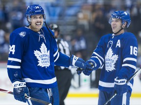 Maple Leafs' Auston Matthews (left) and Mitch Marner have been named all-stars.