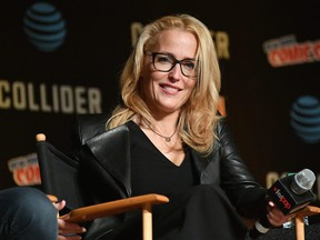 Gillian Anderson speaks onstage at The X-Files panel during 2017 New York Comic Con on Oct. 8, 2017 in New York City.