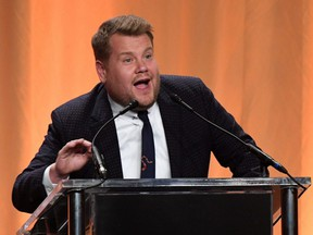 James Corden speaks on stage during the Hollywood Foreign Press Association Annual Grants Banquet at The Beverly Wilshire, in Beverly Hills, Calif. July 31, 2019.