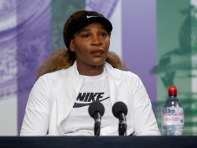 Serena Williams makes an appearance at a press conference ahead of Wimbledon at the All England Lawn Tennis and Croquet Club, London, England, Sunday, June 27, 2021.
