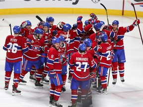 The Canadiens celebrate their Game 4 overtime victory over the Tampa Bay Lightning in Montreal on July 5, 2021.
