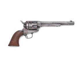 The Colt single action revolver used by Sheriff Pat Garrett to kill U.S. outlaw Billy the Kid in July 1881 in New Mexico is seen in an undated photo before an auction at Bonhams in Los Angeles.