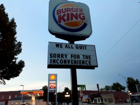 Burger King workers let customers know they were all quitting on the restaurant's marquee in Lincoln, Neb.