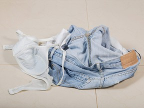 jeans and bra has been removed on the floor
