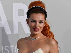 US actress Bella Thorne arrives on July 16, 2021 to attend the amfAR 27th Annual Cinema Against AIDS gala at the Villa Eilenroc in Cap d'Antibes, southern France, on the sidelines of the 74th Cannes Film Festival.