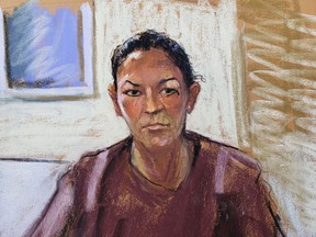 Ghislaine Maxwell appears via video link during her arraignment hearing where she was denied bail for her role aiding Jeffrey Epstein to recruit and eventually abuse of minor girls, in Manhattan Federal Court, in Manhattan, N.Y., July 14, 2020 in this courtroom sketch.