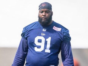 Alouettes defensive-tackle Datone Jones at the team's training camp on Sunday, July 11, 2021.