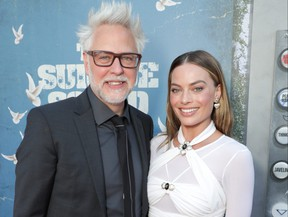 Writer/director James Gunn and actress Margot Robbie at the premiere of The Suicide Squad.