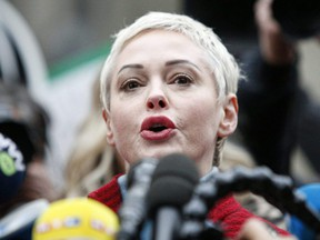 Actress Rose McGowan speaks to the media in New York City, Jan. 6, 2020.