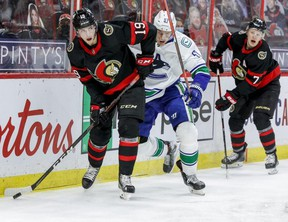 Senators' Drake Batherson finished last season with 17 goals and 34 points but his best attribute is his ability to play a strong two-way game.  ERROL MCGIHON/Postmedia