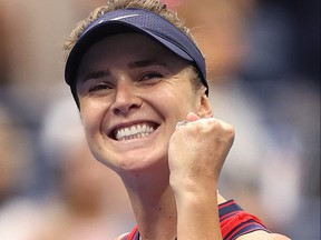 Elina Svitolina of Ukraine celebrates after defeating Simona Halep of Romania during her Women's Singles round of 16 match on Day 7 at USTA Billie Jean King National Tennis Center on Sept. 5, 2021 in New York City.
