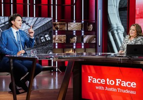 Liberal Leader Justin Trudeau prepares to take part on CBC's Face To Face with host Rosemary Barton in Toronto, September 12, 2021.