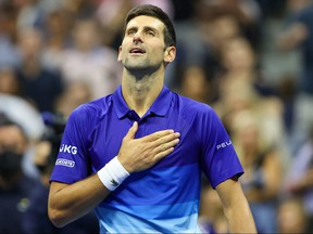 Novak Djokovic of Serbia celebrates after defeating Tallon Griekspoor of the Netherlands during his Men's Singles second round match on Day 4 of the 2021 U.S. Open at USTA Billie Jean King National Tennis Center on Sept. 2, 2021 in New York City.