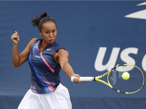 Laval's Leylah Annie Fernandez hits a shot against Kaia Kanepi of Estonia in a second-round match at the U.S. Open in Flushing, N.Y., on Sept. 1, 2021;