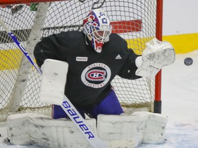 """""""There's always two different things that I say: there's practice shots and game shots,"""" Canadiens goalie Jake Allen says."""