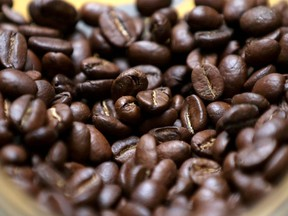 Roasted coffee beans are seen on display at a Juan Valdez store in Bogota, Colombia, June 5, 2019.