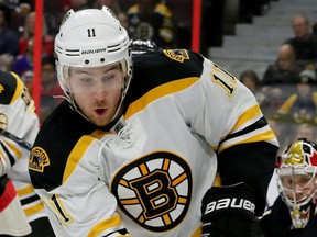 Jimmy Hayes is action while playing with the Boston Bruins against the Ottawa Senators at Canadian Tire Centre in Ottawa, Nov. 4, 2016.