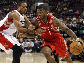 Terrence Williams of the Houston Rockets drives to the basket during NBA action in Toronto March 7, 2012.