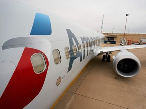 An exterior view of an American Airlines B737 MAX airplane.