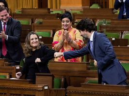 Finance Minister Chrystia Freeland receives a fist-bump from Prime Minister Justin Trudeau after unveiling her first fiscal update, the Fall Economic Statement 2020, on Monday.