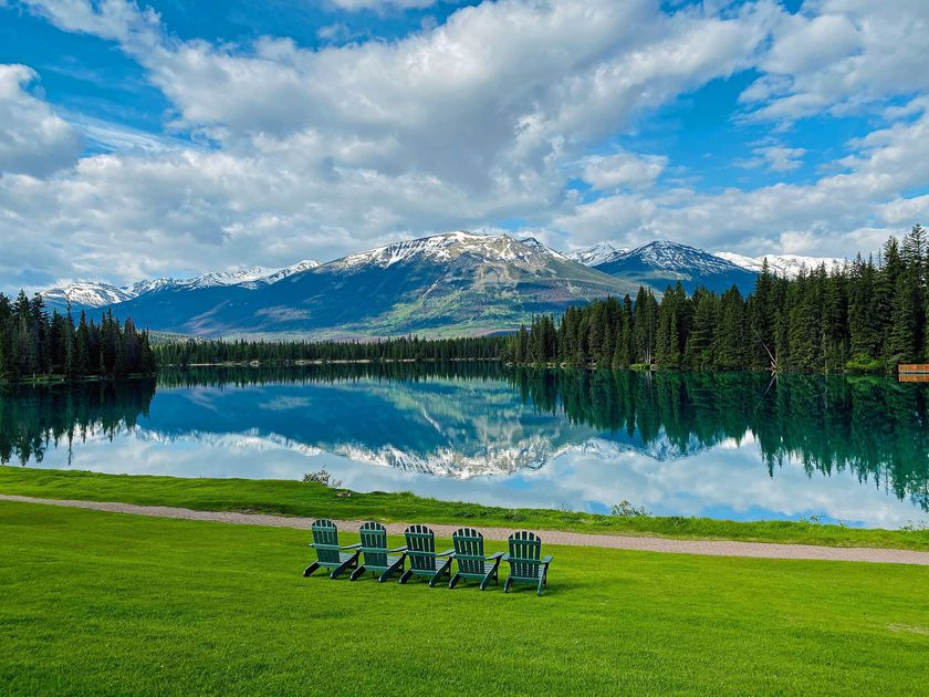 An image of Lac Beauvert in Jasper National Park in Alberta, Canada.
